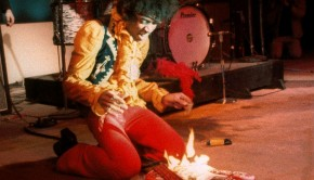 Jimi hendrix guitar on fire monterey live while playing Wild Thing 1967
