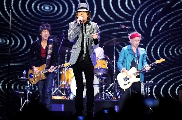 Ronnie Wood Mick Jagger and Keith Richards of the Rolling Stones perform at 02 Arena