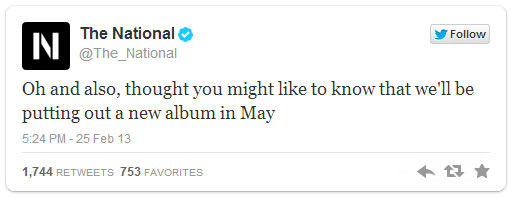 the national twitter post about the new album for 2013