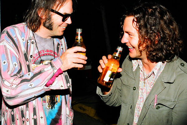 Neil Young Eddie Vedder best buddies beer laughing