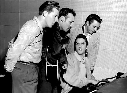 Jerry Lee Lewis and Carl Perkins and Elvis Presley and Johnny Cash 1956