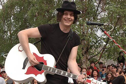 jack white with his gretsch guitar
