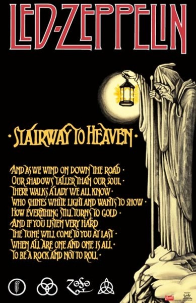Led Zeppelin stairway to heaven poster wallpaper with lyrics