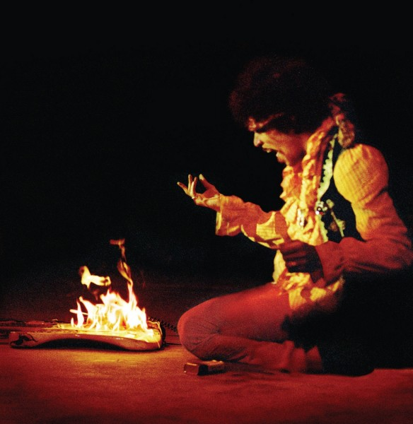 Jimi Hendrix burns the guitar at monterey