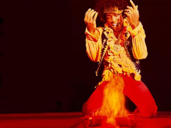 Jimi hendrix set guitar on fire hd wallpaper for desktop
