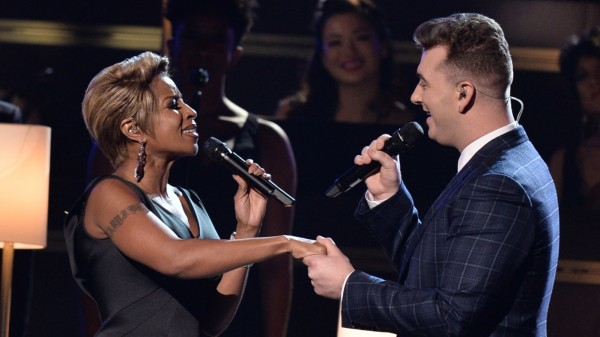Mary J. Blige and Sam Smith perform at the 57th annual Grammy
