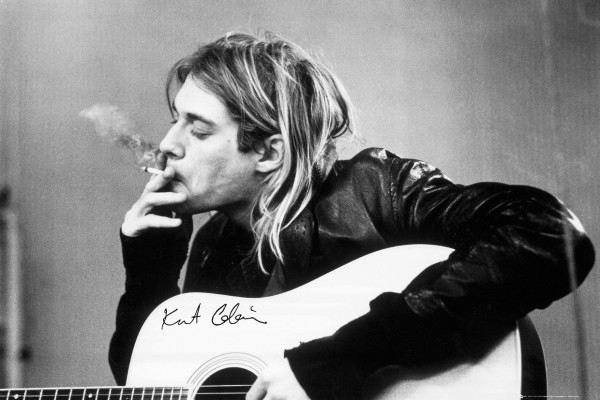 Kurt Cobain Smoking While Playing On Acoustic Guitar